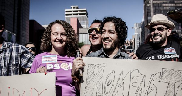 Luciana Genro e Jean Wyllys na 18ª Parada LGBT de São Paulo