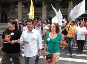 Na foto, da esquerda para a direita: Tarcísio Motta, candidato do PSOL ao governo do Rio de Janeiro; Marcelo Freixo, deputado estadual; Luciana Genro, candidata do PSOL à Presidência da República.
