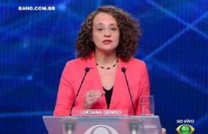 Luciana Genro no debate / TV Bandeirantes