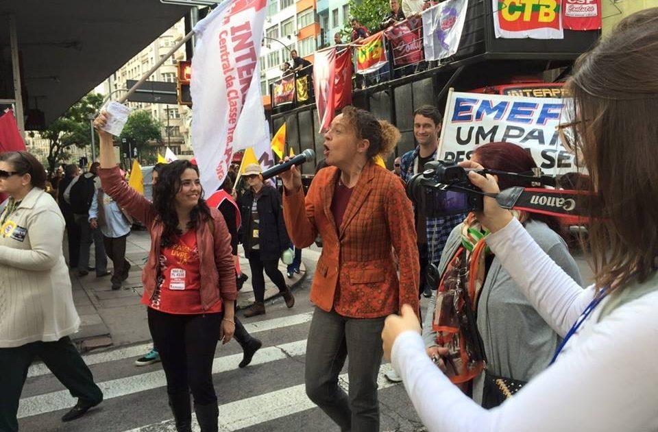 Luciana Genro na manifestação do dia 29 de maio em Porto Alegre