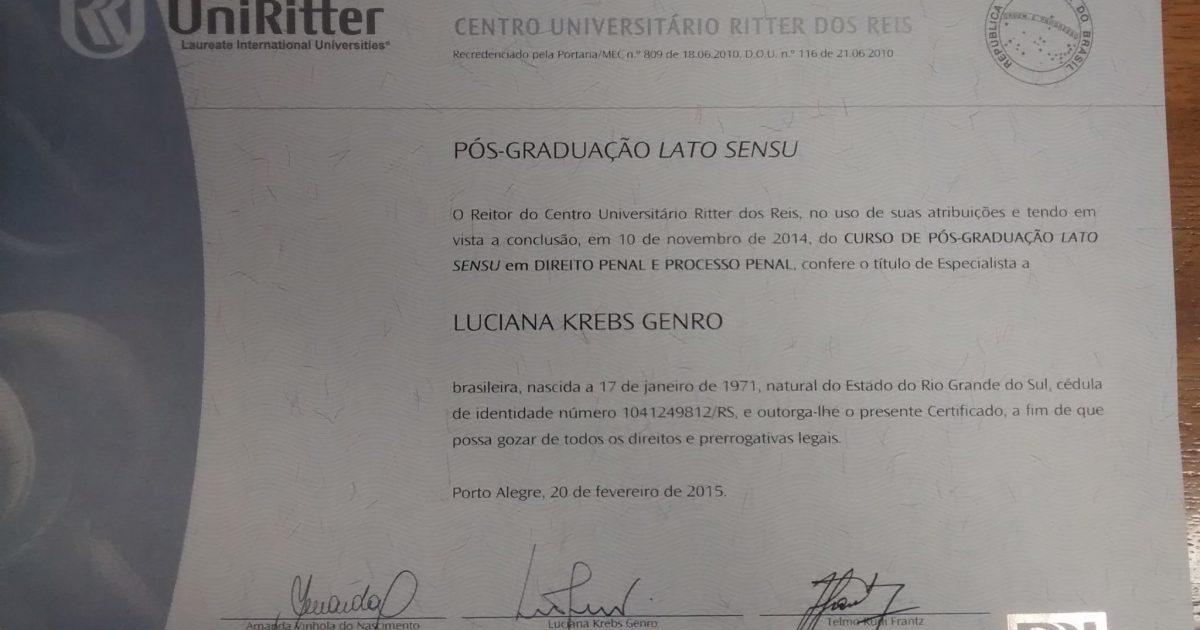 Diploma de Especialista em Direito Penal