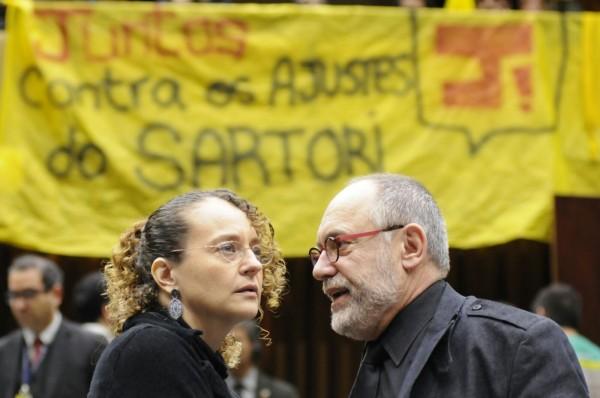 Na Assembleia Legislativa, Luciana Genro e Pedro Ruas estiveram na linha de frente contra o ajuste de Sartori | Foto: Marcelo Bertani