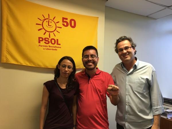 Melike se reuniu com Roberto Robaina, dirigente nacional do PSOL, e Israel Dutra, presidente do partido no Rio Grande do Sul