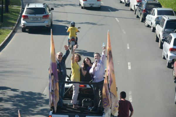 Luciana, Ruas, Robaina e Fernanda comandaram carreata | Foto: Fernanda Piccolo/PSOL
