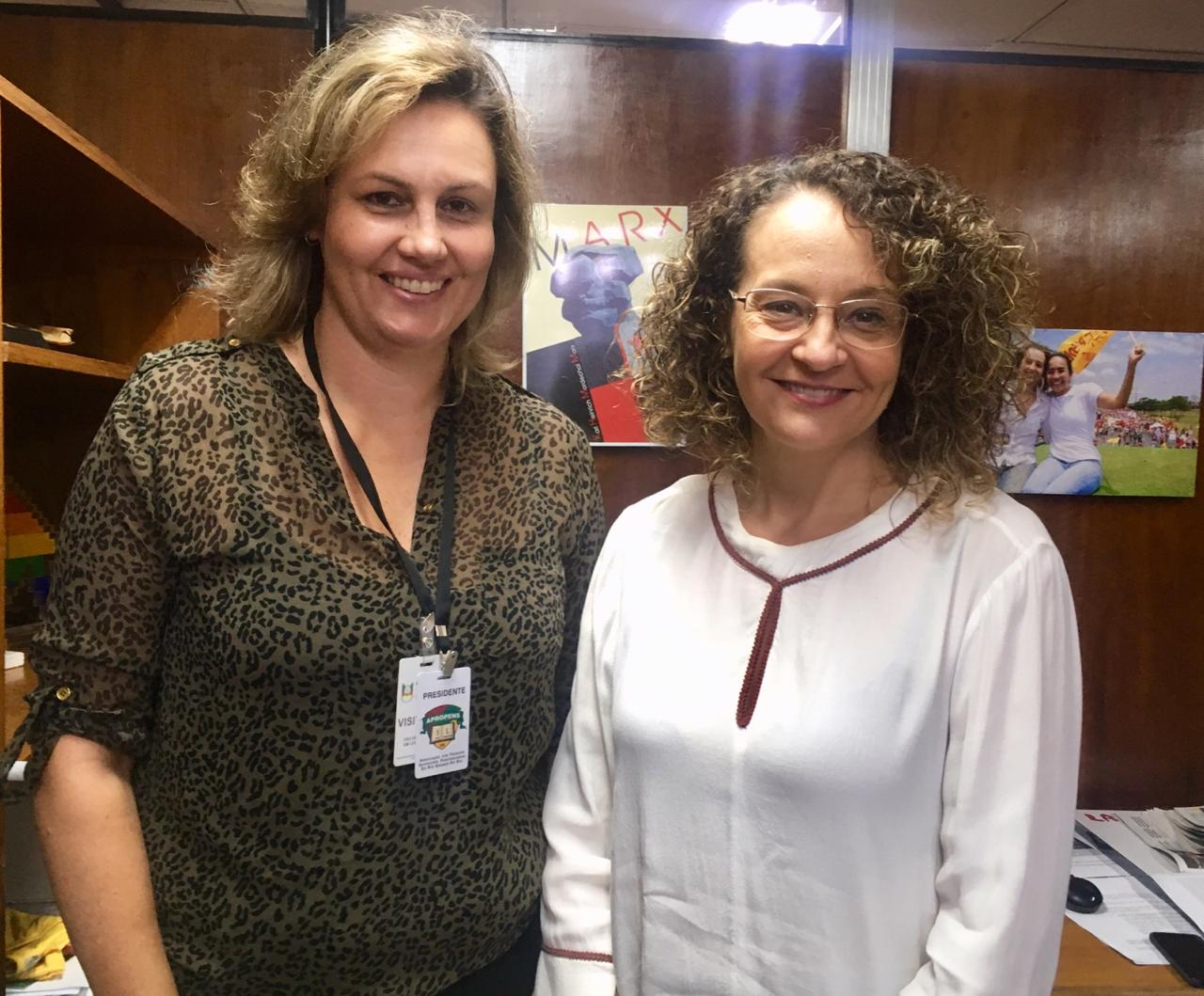 Reunião da deputada estadual Luciana Genro com a presidente da Associação dos Técnicos Superiores Penitenciários do RS (Apropens), Luciane Engel.