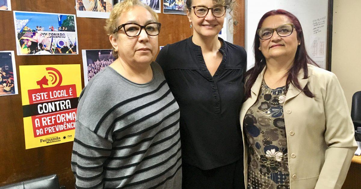 A deputada Luciana Genro recebeu Vera Souto e Claudete Valau da  (Aesppom-RS) | Foto: Juliana Almeida