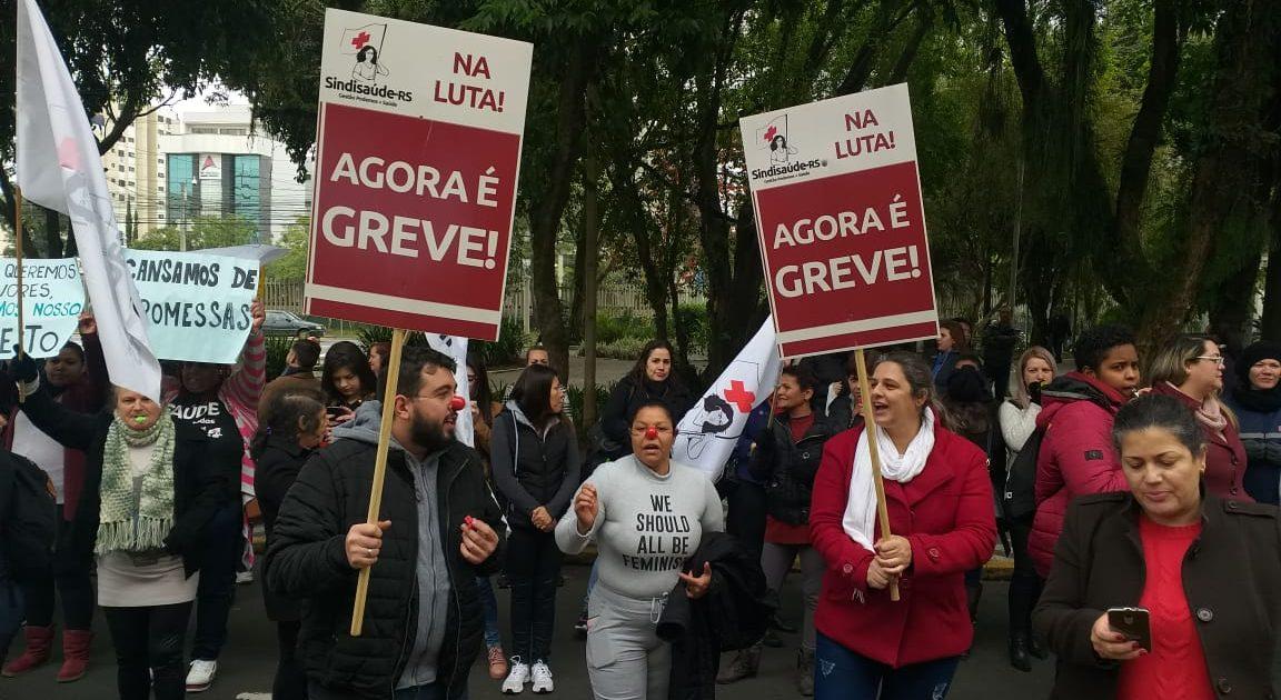 Trabalhadores da Saúde de Canoas fizeram mobilização na segunda | Foto: Julio Appel