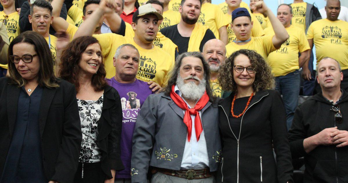 Deputada Luciana Genro (PSOL) deu parecer favorável e votou a favor do projeto do deputado Luiz Marenco (PDT) que declara o Mercado Público de Porto Alegre como patrimônio histórico e cultural do RS | Foto: Mariana Pires