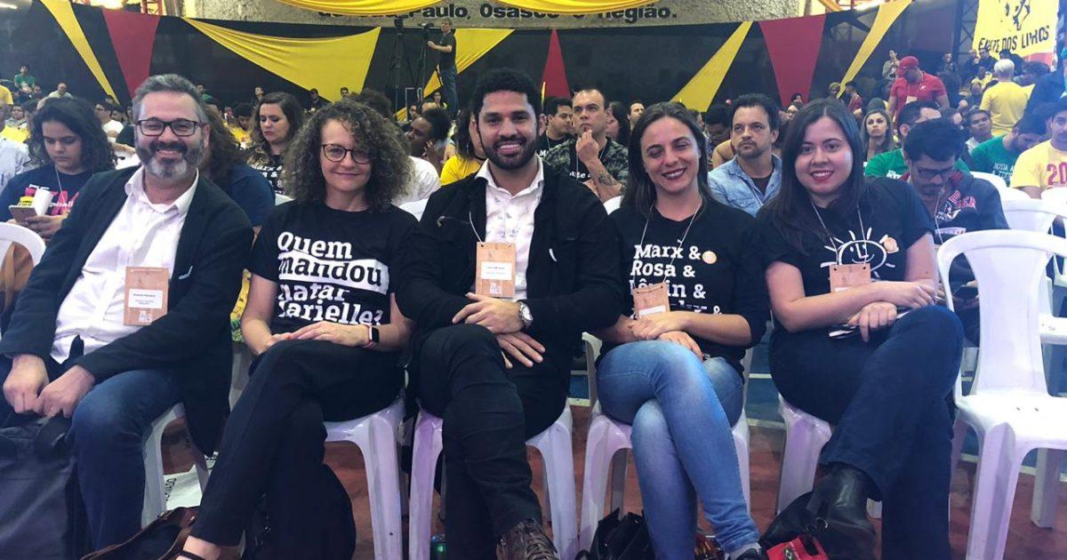 Luciana Genro e David Miranda em evento do PSOL em SP - Foto Luciano Egidio Palagano