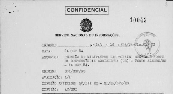 Documentos do SNI revelam que Luciana Genro e Roberto Robaina foram espionados pela ditadura no movimento estudantil