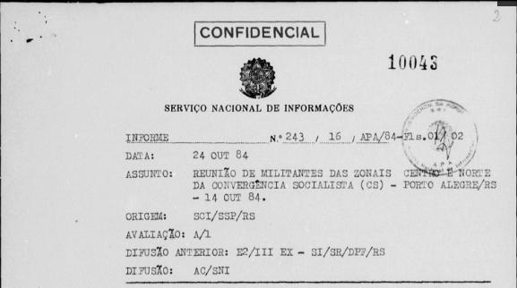 Documentos do SNI demonstram como ditadura monitorava reuniões de estudantes e trabalhadores.