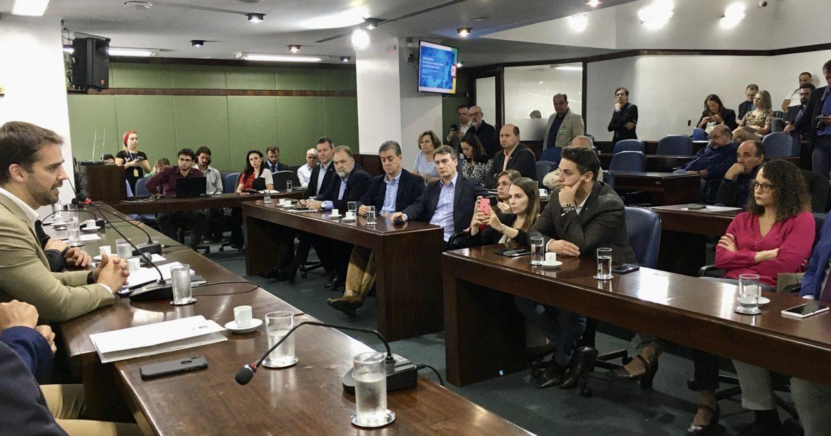 Deputada Luciana Genro participou da reunião de líderes da Assembleia Legislativa com a presença do governador Eduardo Leite | Foto: Juliana Almeida