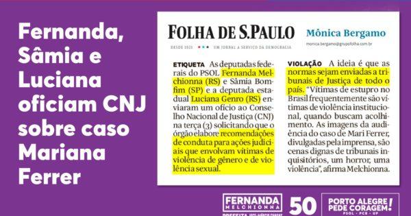 Deputadas do PSOL pedem ao CNJ investigação da conduta de juiz do caso Mariana Ferrer