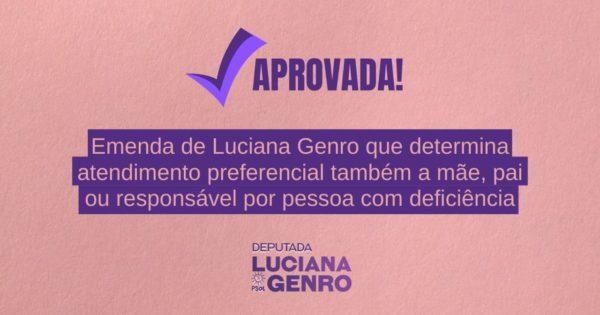 Aprovada emenda de Luciana Genro que garante atendimento preferencial a responsável por pessoa com deficiência
