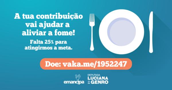 Luciana Genro e Emancipa reforçam campanha de solidariedade na pandemia faltando 25% para atingir meta de doações