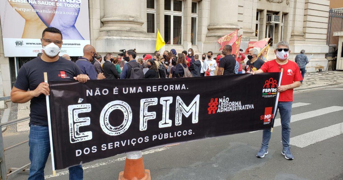 Servidores protestam contra a PEC da Reforma Administrativa. | Foto: Sintrajufe-RS