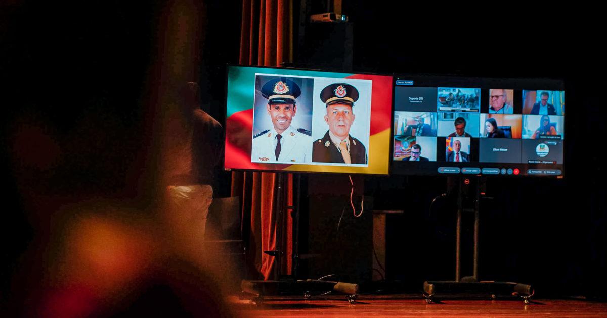 Sargento Munhóz e tenente Deroci perderam suas vidas no combate ao incêndio da SSP.   Foto: Joel Vargas/Agência ALRS.